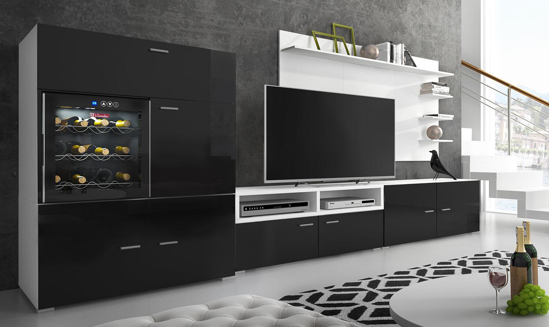 Ensemble Meubles Tv Refriger La Sommeliere Laque Noir Blanc Mat 295x175x57 40 Cm Meuble Du Salon
