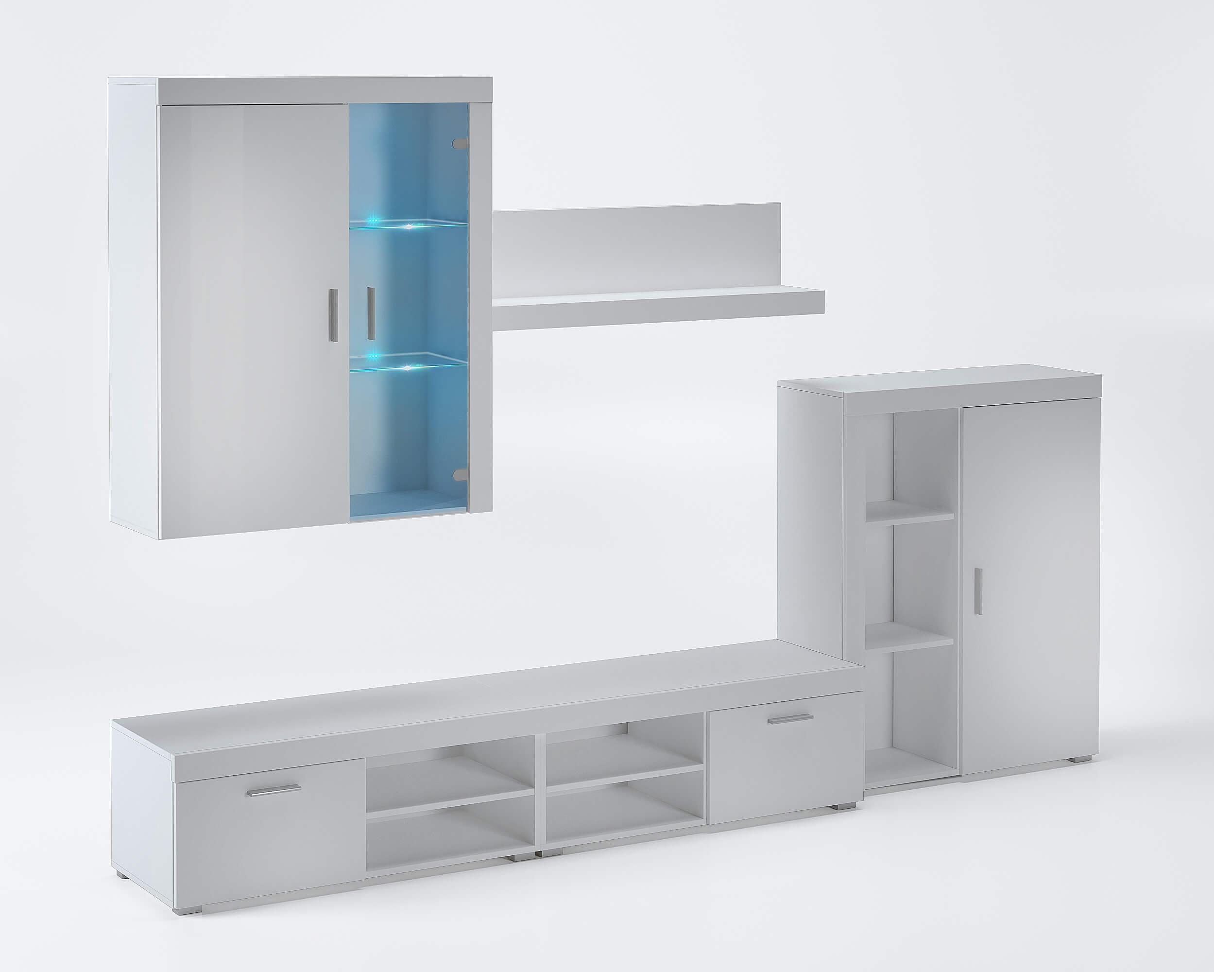 ensemble de meubles meuble tv ilumin led blanc laque blanc mate 290x200x45cm