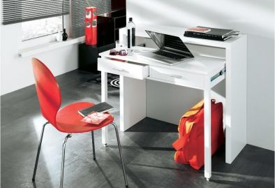 Bureau extensible, table pour ordinateur, 2 tiroirs, blanc brillant. | TABLE